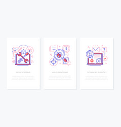 computer service - line design style banners set vector image