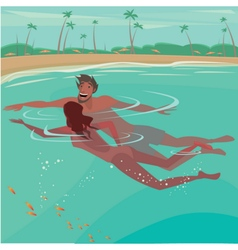 Couple swimming in the ocean vector image