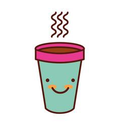 Cute hot coffe cup vector