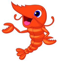 Cute shrimp cartoon presenting vector image