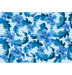 Delicate blue flowers on a pale blue striped backg vector image