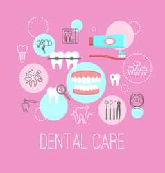 Dental care poster with flat icons vector