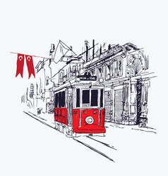 digital nostalgic red tram in istiklal vector image