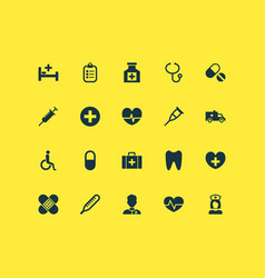 Drug icons set with peck plus chest and other vector