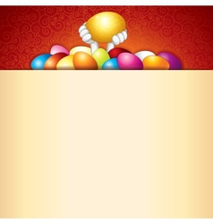 Easter Background Bunny and Heap of Painted Eggs vector image