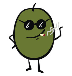 Emoji green olive in sunglasses smoking a vector