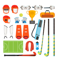 field hockey icons set field hockey vector image