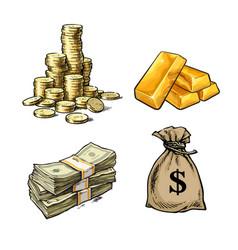 Finance money set stack coins gold bars vector