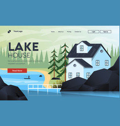 Flat modern design mountain house vector