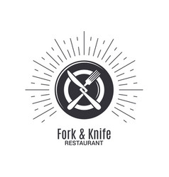 fork and knife logo restaurant menu with plate vector image