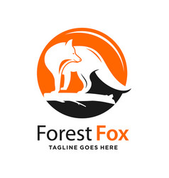 fox and circle logo design template vector image