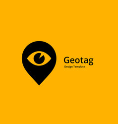 Geotag with eye or location pin logo icon design vector