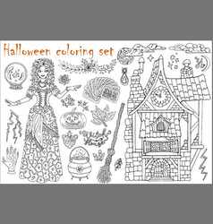 halloween coloring set with beautiful witch girl vector image