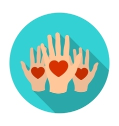 Hands up with hearts icon in flat style isolated vector
