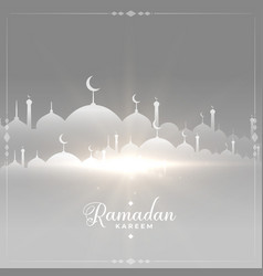 Happy ramadan kareem glowing mosque greeting vector