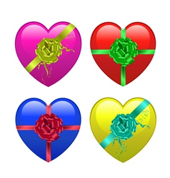 hearts with ribbons vector image