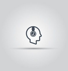 Human head with headphones outline icon vector