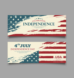 independence day flag usa brush stroke design vector image