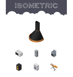 Isometric appliance set of stove laundry air vector
