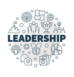 Leadership round in outline vector