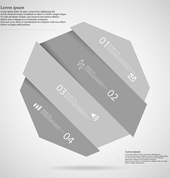 Light infographic with octagon askew divided to vector