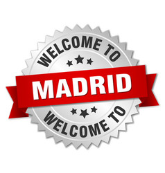 madrid 3d silver badge with red ribbon vector image