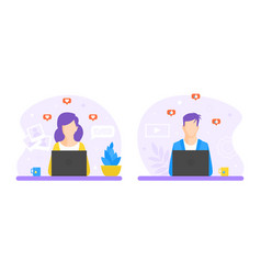 man and woman working at desks office employees vector image