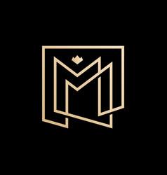 mm lettermark monogram square logo vector image