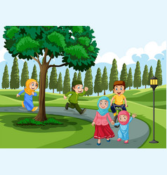muslim family in the park vector image