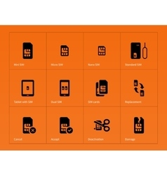 Network SIM cards icons on orange background vector image