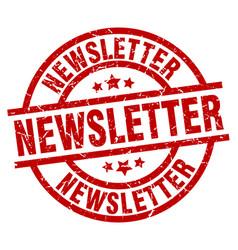 Newsletter round red grunge stamp vector
