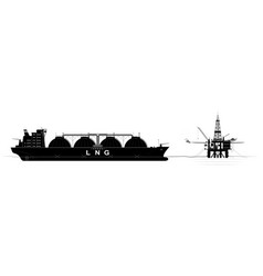 oil or gas platform in ocean and a tanker for vector image