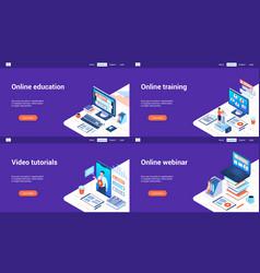 online education 3d lp templates vector image
