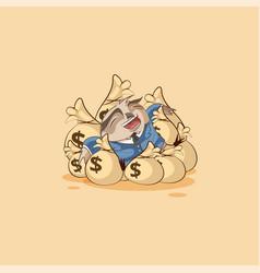 owl business suit lies happy on bags money vector image