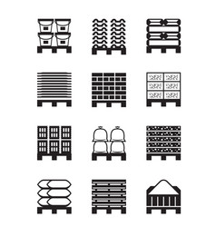 pallets with different building materials vector image