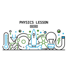 Physics lesson banner outline style vector