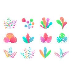 plant leaves set vector image