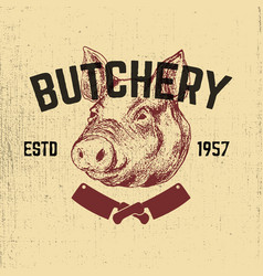 Pork butchery hand drawn pig head on grunge vector
