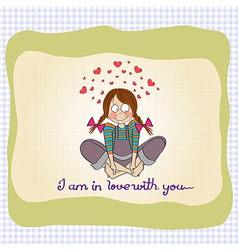 pretty young girl in love vector image