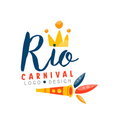 rio carnival logo design bright festive party vector image