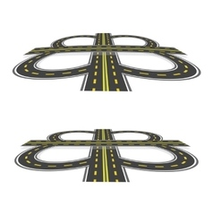 Road interchange Highway with yellow markings in vector