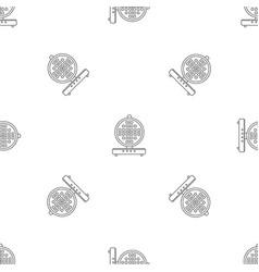 round waffle machine pattern seamless vector image
