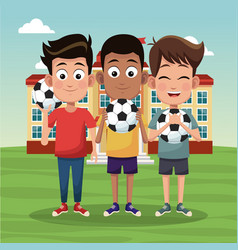 school boys with soccer balls vector image