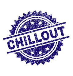 Scratched textured chillout stamp seal vector