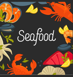 seafood promotional poster with sign and products vector image