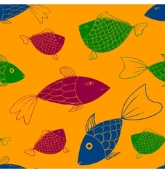 seamless pattern with fishes eps 10 vector image