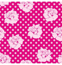 Seamless pink roses and white dots pattern vector