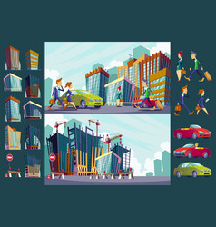 set cartoon of an urban large vector image vector image