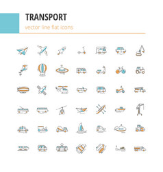 set line icons in flat design transport vector image