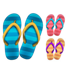 set multi-colored flip flops on a white vector image